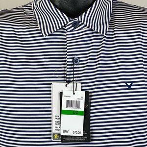 Callaway Opti-Dry Golf Polo Blue Stripes NWT